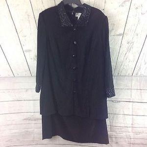 Jessica Howard Dress Size 16 Black Longsleeve
